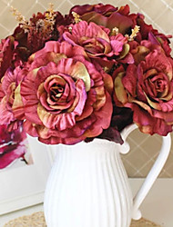 "18""L Set of 6 Spring Roses Silk Cloth Flowers Rouge"
