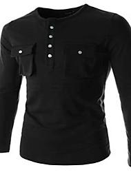 Informeel - Zuiver - Lange Mouw - MEN - Katoen/Polyester - T-shirts - Zwart/Blauw/Rood/Wit/Grijs