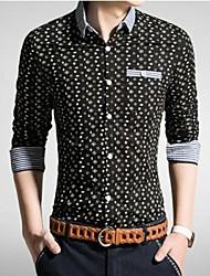 Men's Lapel Casual Slim Long Sleeve Cotton Shirts