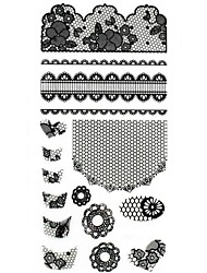 1PC New 3D Black Nail Art Stickers Lace Nail Wraps Nail Decals Grid Flower Heart Nail Polish Decorations
