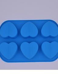 6-Loch-Eiswürfel Eis Eis-Behälterform (Farbe zufällig) (Herz)