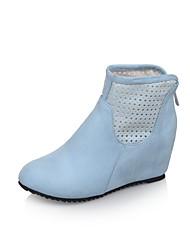 Zapatos de mujer - Tacón Cuña - Punta Redonda / Botas a la Moda - Botas - Vestido - Semicuero - Azul / Morado / Beige