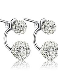 Stud Earrings Women's Silver Earring Rhinestone