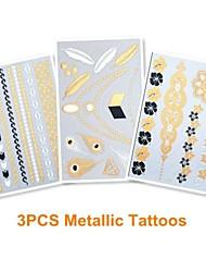 3PCS Mixed Metallic Gold Tattoos Heart Feather Temporary Tattoos Sticker Flash Tattoos Wedding Party Tattoos(25*15.5cm)