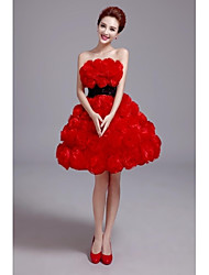 Formal Evening Dress A-line Strapless Knee-length Satin Dress