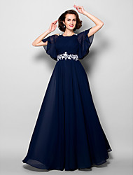 A-line Mother of the Bride Dress - Dark Navy Floor-length Short Sleeve Chiffon