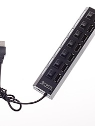 7 Ports USB 2.0 High Speed HUB ABS Material with LED Indicator Separate Switches