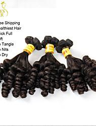 "3Pcs Lot 10""-22"" Unprocessed Malaysian Virgin Aunty Funmi Hair Bouncy Romance Curls Natural Black Remy Human Hair Weaves"