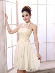 Short/Mini Chiffon Bridesmaid Dress - Champagne A-line Halter