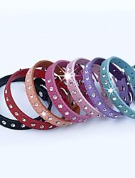 Cat Dog Collar Adjustable/Retractable Rhinestone Red Black Blue Pink Purple Orange Rose Genuine Leather
