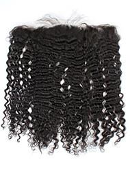 """13 """"x4"""" fermeture de cheveux brésiliens 10inch crépus bouclés partie libre de dentelle de cheveux humains fermeture frontale 1pc vierge"""