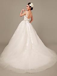 Princess Sweep/Brush Train Wedding Dress -Straps Lace
