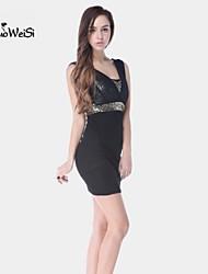 NUO WEI SI ®  Women's V Neck Mesh Perspective Sheath Sleeveless Bodycon Dress
