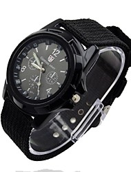 Men's Sport Watch Quartz Analog Water Resistant Fabric Canvas Strap Cool Black