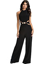 Women's Solid Black Jumpsuits,Sexy One Shoulder Sleeveless