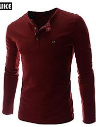 RUILIKE®Men's Casual Pure Cotton  Long Sleeve Regular T-Shirts