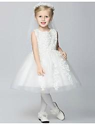 Flower Girl Dress - Longueur genou Mode de bal/Princesse - Col U profond ( Coton/Organza/Taffetas )