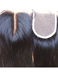 """fermeture de cheveux vierges brésilien partie médiane 3,5 """"x4"""" couleur naturelle des morceaux de cheveux droites fermeture à lacets 1pc"""