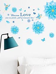 decalques de parede adesivos de parede, flor de fadas estilo de solteira azul pvc adesivos de parede