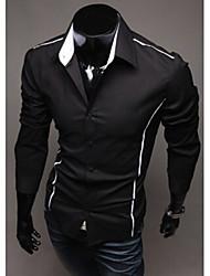 White Men's Fashion Causal Personality Long Sleeve Shirt