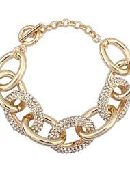 Women's EU&US Rhinestone Pave Thick Alloy Oval Circles Wrist Chain Bracelets