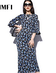 Women's Blue Dress , Print ¾ Sleeve