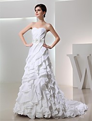 A-line,Trumpet/Mermaid Chapel Train Wedding Dress -Sweetheart Taffeta