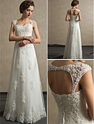 Sheath / Column Sweetheart Floor-length Lace and Satin Wedding Dress