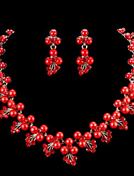 Jewelry Set Women's Anniversary / Wedding / Engagement Jewelry Sets Cubic Zirconia / Alloy Necklaces / Earrings Red