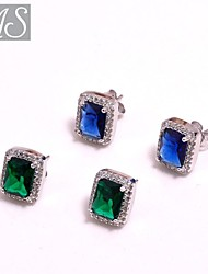 AS 925 Silver Jewelry  Eight heart eight arrow match color square stone earrings