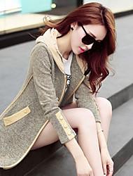 Manteau ( Mélanges de Coton/Faux Cuir ) Long - Décontracté/Grandes Tailles - Opaque/Epais à Manches Longues