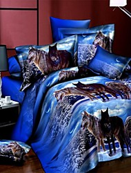 3D Flower Printed with Queen King Size 4pcs Bedding Set Duvet Cover Bed Sheet Bedclothes