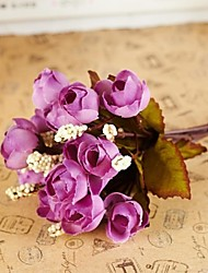 """8.7 """"l conjunto de 1 Mini 15 cabezas otoño flores color de rosa de seda de tela"""