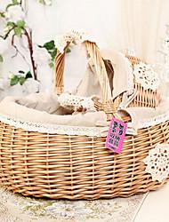 """13.8 """"l estilo rural flor de mimbre marrón cesta cesta de la mano"""