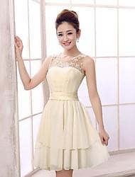 Short/Mini Chiffon Bridesmaid Dress - Champagne A-line Jewel