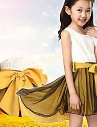 Girl's Pink / Yellow Dress,Solid Cotton / Chiffon Summer / Spring / Fall