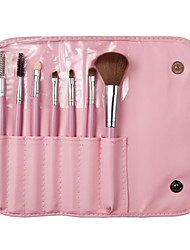 7PCS Pink Makeup Brushes Set Synthetic Hair Full Coverage