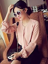 Women's Sweet Ruffle Chiffon Long Sleeve Shirt
