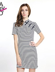 haoduoyi® Women's Vintage Chinese Dress Buttons Round Collar Blue Striped Sailor A-Line Dress