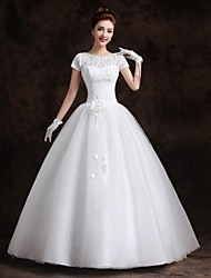 Ball Gown Floor-length Wedding Dress -Bateau Lace