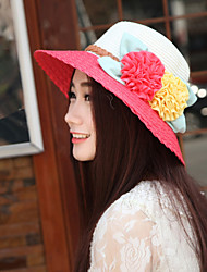 Women Straw Flowers Color Block Fedora Hat,Cute / Party / Casual Spring / Summer / Fall