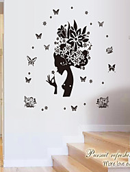 Wall Stickers Wall Decals, Style The Butterfly And The Beauty Diagram Silhouette PVC Wall Stickers