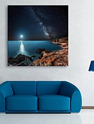 E-HOME® Stretched LED Canvas Print Art The Shore of The Night Flash Effect LED Flashing Optical Fiber Print