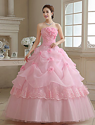 Ball Gown Princess Wedding Dress Wedding Dress in Color Floor-length Strapless Organza with Appliques Pearl Flower
