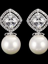 Drop Earrings Women's Cubic Zirconia/Pearl/Alloy Earring