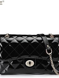Fashion Magnetic Button Quilted Patent Satchel Bag
