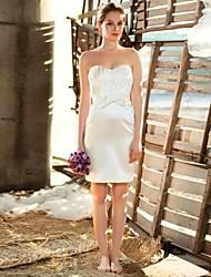 Wedding Party Dress - White Petite A-line Sweetheart Short/Mini Lace / Satin