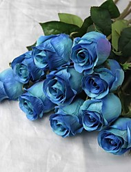 "28.7"" One Head Silk Artificial Blue Rose with Thorn"