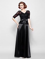 Sheath/Column Plus Sizes / Petite Mother of the Bride Dress - Black Floor-length Half Sleeve Lace / Stretch Satin