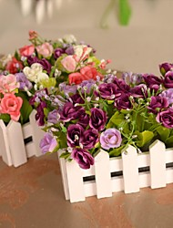 """6.3""""L 6.3""""H Beautiful Multicolor Golden Roses in White Fence"""